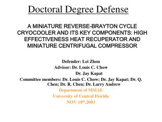Doctoral Degree Defense