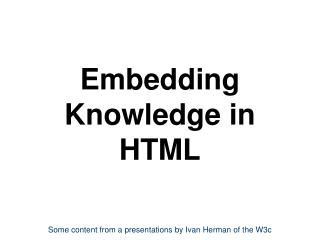 Embedding Knowledge in HTML