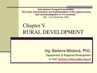 Chapter V.  RURAL DEVELOPMENT