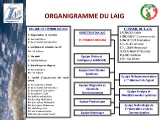 CELLULE DE GESTION DU LAIG 1. Responsables de la cellule Dr Kechida Sihem
