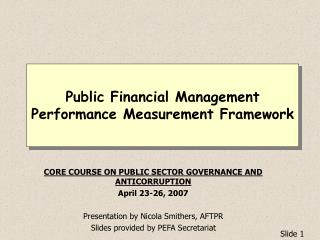 Public Financial Management Performance Measurement Framework