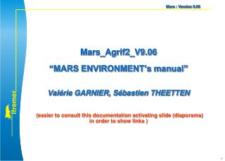 MARS environment Sommaire        (click on each chapter to go directly in)