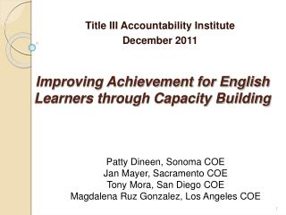 Improving Achievement for English Learners through Capacity Building