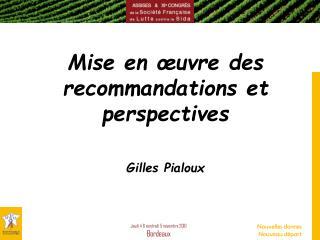 Mise en œuvre des recommandations et perspectives Gilles Pialoux