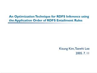 An Optimization Technique for RDFS Inference using the Application Order of RDFS Entailment Rules
