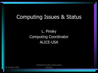 Computing Issues & Status
