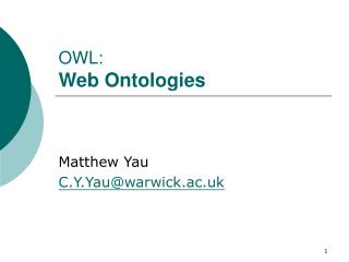 OWL: Web Ontologies