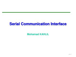 Serial Communication Interface