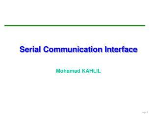 Serial Communication Interface