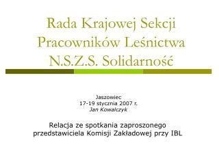 Rada Krajowej Sekcji Pracowników Leśnictwa  N.S.Z.S. Solidarność