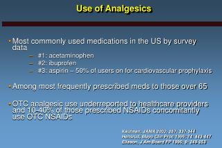 Use of Analgesics