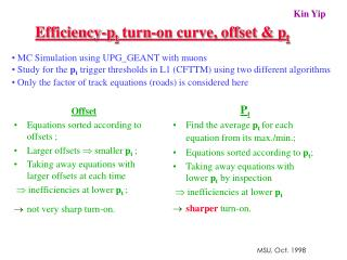 Efficiency-p t  turn-on curve, offset & p t