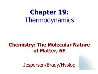 Chapter 19:  Thermodynamics
