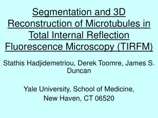 Segmentation and 3D Reconstruction of Microtubules in Total Internal Reflection  Fluorescence Microscopy TIRFM