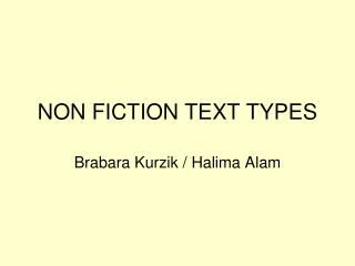 NON FICTION TEXT TYPES