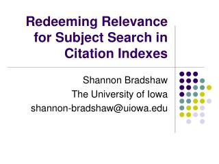 Redeeming Relevance for Subject Search in Citation Indexes