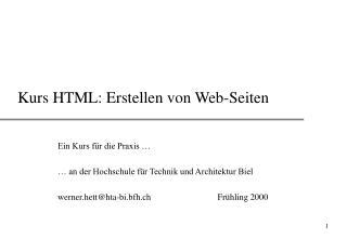Kurs HTML: Erstellen von Web-Seiten