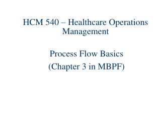 HCM 540 � Healthcare Operations Management