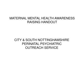 MATERNAL MENTAL HEALTH AWARENESS RAISING HANDOUT