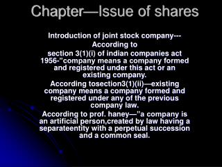 Chapter—Issue of shares