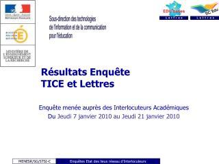 Résultats Enquête  TICE et Lettres