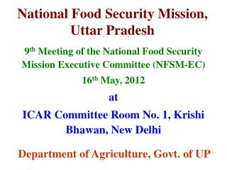 National Food Security Mission, Uttar Pradesh