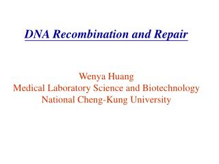 DNA Recombination and Repair Wenya Huang Medical Laboratory Science and Biotechnology