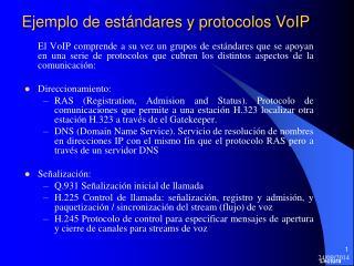 Ejemplo de estándares y protocolos VoIP