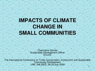 IMPACTS OF CLIMATE CHANGE IN SMALL COMMUNITIES