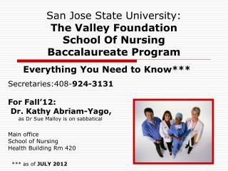 San Jose State University:  The Valley Foundation  School Of Nursing Baccalaureate Program