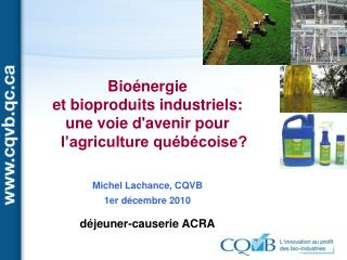 Bioénergie  et bioproduits industriels:  une voie d'avenir pour l'agriculture québécoise?