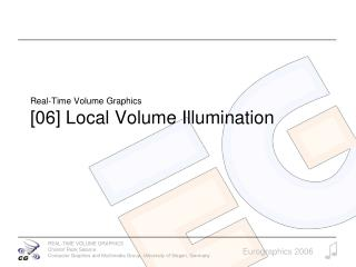 Real-Time Volume Graphics [06] Local Volume Illumination