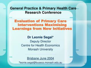 General Practice & Primary Health Care Research Conference