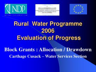 Rural  Water Programme 2006  Evaluation of Progress