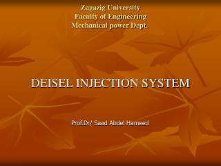 Zagazig University Faculty of Engineering Mechanical power Dept.