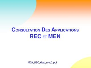 C ONSULTATION D ES A PPLICATIONS REC ET MEN