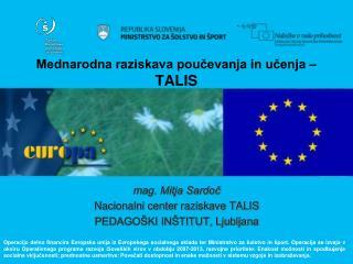 Mednarodna raziskava poučevanja in učenja –  TALIS
