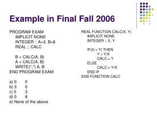 Example in Final Fall 2006
