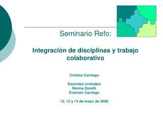 Seminario Refo: Integración de disciplinas y trabajo colaborativo