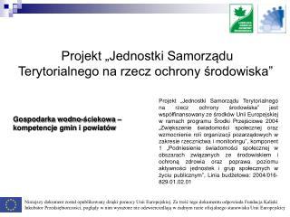 """Projekt """"Jednostki Samorządu Terytorialnego na rzecz ochrony środowiska"""""""