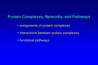 Protein Complexes, Networks, and Pathways