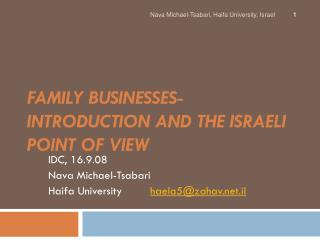 Family businesses- introduction and the Israeli point of view