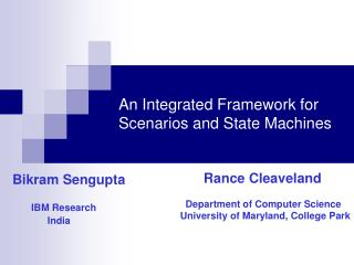 An Integrated Framework for Scenarios and State Machines