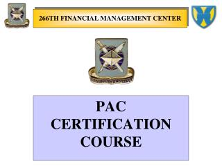 PAC CERTIFICATION COURSE