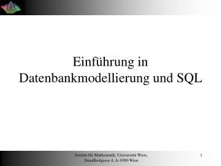 Einf�hrung in Datenbankmodellierung und SQL