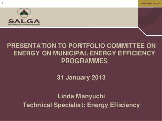 PRESENTATION TO PORTFOLIO COMMITTEE ON ENERGY ON MUNICIPAL ENERGY EFFICIENCY PROGRAMMES