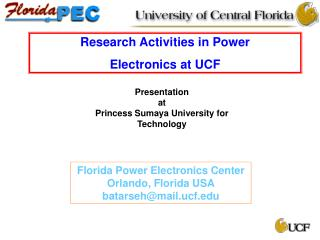 Research Activities in Power  Electronics at UCF