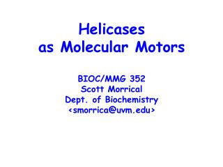 Helicases as Molecular Motors BIOC/MMG 352 Scott Morrical Dept. of Biochemistry <smorrica@uvm>