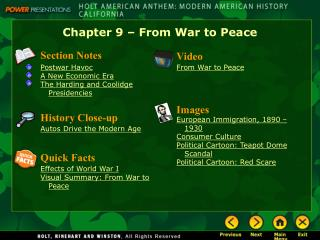 Chapter 9 – From War to Peace