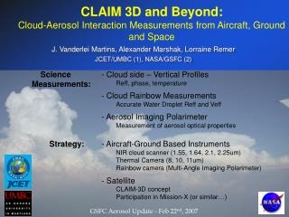 CLAIM 3D and Beyond: Cloud-Aerosol Interaction Measurements from Aircraft, Ground and Space